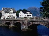 Old Stone Bridge, Pub and Houses, Hellesylt, Norway Photographic Print by Pershouse Craig