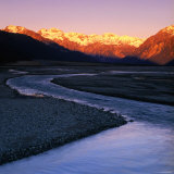 Waimakariri River Valley with Sun-Lit Mountains Behind, Arthur&#39;s Pass National Park, New Zealand Photographic Print by Wes Walker