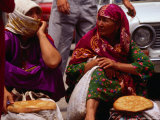 Women Selling Bread at the Market, Mary, Mary, Turkmenistan Photographic Print by Jane Sweeney