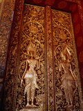 Carved and Gilded Door at Wat Mai Suwannaphumaham, Luang Prabang, Laos Photographic Print by Ryan Fox