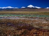Hot Spring Run off and the Distant Andean Cordillera, San Pedro De Atacama, Chile Photographic Print by Brent Winebrenner