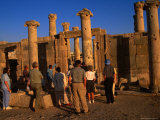 A Tour Group at the Byzantine Basilica in the 2nd Century Roman Decapolis City of Jerash, Jordan Photographic Print by Patrick Syder