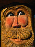 Detail of Carved Face on Wooden Fountain, Ettal, Germany Photographic Print by Martin Moos