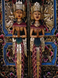 Brightly Painted Doors with Wooden Carvings in the Tegallalang Area, Indonesia Photographic Print by Adams Gregory