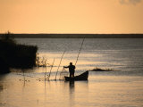Fisherman Checking Nets at Dawn on Danube Delta, Tulcea, Romania, Photographic Print by Diana Mayfield