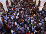Overhead of Pilgrims Crowding Inside the Santuario De Immaculada Concepcion, Lo Vasquez, Chile Photographic Print by Brent Winebrenner