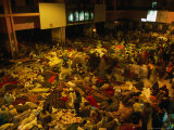 Railway Station Hall at Night Packed with Sleeping Pilgrims, Varanasi, Uttar Pradesh, India Photographic Print by Anders Blomqvist