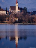 Cathedral Reflected in Lake Bled, Bled, Slovenia Photographic Print by Damien Simonis