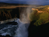Gulfoss Waterfall and Canyon at Sunrise, Gullfoss, Vesturland, Iceland Photographic Print by Grant Dixon