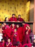 Monks Watching Annual Wangdu Tsechu (Festival), Wangdue Prodrang, Bhutan Photographic Print by Izzet Keribar