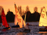Small Yachts Sailing Around Albert Park Lake, Melbourne, Australia Photographic Print by John Banagan