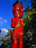 Maori Statue Near Museum of Art and History, Rotorua, Bay of Plenty, New Zealand Photographic Print by Krzysztof Dydynski