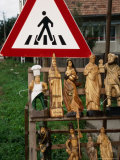 Wooden Sculptures and Statues for Sale by Roadside, Cluj-Napoca, Cluj, Romania, Photographic Print by Diana Mayfield