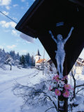 Shrine in Front of Snow-Covered Church Outside Postojna, Postojna, Slovenia Photographic Print by Damien Simonis