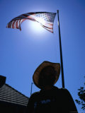 Sunlight Through the American Flag, Santa Barbara, California, USA Photographic Print by Christian Aslund