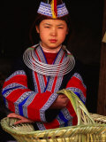 Girl in Traditional Dress Carrying Basket, Anshun, China Photographic Print by Keren Su