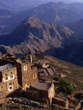 Buildings of Town with Mountains Behind, Shihara, Yemen Photographic Print by Bethune Carmichael