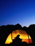 Camper Reading by Lantern in Tent at Dusk, Yosemite National Park, USA Photographic Print by Woods Wheatcroft