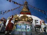 Monk and Giant Dorje Below Swayambunath Stupa, Swayambhunath, Bagmati, Nepal Photographic Print by Anders Blomqvist