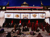 Monks and Pilgrims Outside Sera Monastery, Lhasa, Tibet Photographic Print by Richard I'Anson