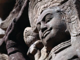 Detail of Carved Statue at the Terrace of the Leper King, Angkor Thom, Angkor, Cambodia Photographic Print by Tom Cockrem