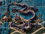 Detail of Blue Glaze Tiled Nine Dragon Screen in Beihai Park, Beijing, China Photographic Print by Diana Mayfield