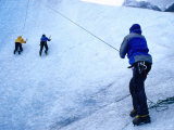People Ice Climbing, Torres Del Paine National Park, Chile Photographic Print by Brent Winebrenner