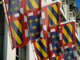 Regional Flags of Burgundy Incorporating Royal Bourbon Fleur-De-Lys Golden Lilies, Beaune, France Photographic Print by Levesque Kevin