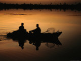 Fishermen from Kom Ombo at Sunset on the River Nile, Kom Ombo, Egypt Photographic Print by Jane Sweeney