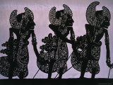 Silhouette of the Pandawa Brothers, Characters in a Traditional Wayang Kulit Play, Indonesia Photographic Print by Adams Gregory