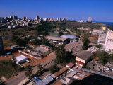 Overhead of Lower and Upper Town with Indian Ocean in Distance, Maputo, Mozambique Photographic Print by Rick Gerharter