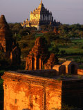 Thatbyinnyu Pahto Seen from Mingalazedi at Sunset, Old Bagan, Myanmar (Burma) Photographic Print by Glenn Beanland