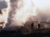 People Silhouetted Against Steam from Geyser Vent, Sol De Manana, Bolivia Photographic Print by Brent Winebrenner