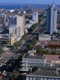 Overhead of Avenida 25 De Setembro in Lower Town Area with Wharves in Distance, Maputo, Mozambique Photographic Print by Rick Gerharter