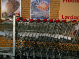 Shopping Trolleys Outside a Brugsen Supermarket, Tollose, Sjaelland Island, West Zealand, Denmark Photographic Print by Martin Lladó