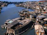 Houseboats and Houses on Banks of Saigon River, Ho Chi Minh City, Vietnam Photographic Print by Oliver Strewe