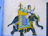 Moghul-Style Wall Decoration, Udaipur, Rajasthan, India Photographic Print by Greg Elms