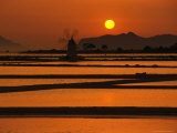 Sunset Over the Saltpans and a Windmill on San Pantaleo, Sicily, Italy Photographic Print by Dallas Stribley