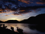 Boats on the Mekong River at Dusk, Luang Prabang, Laos Photographic Print by Ryan Fox