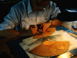 Sandalwood Fan Making, Suzhou, Jiangsu, China Photographic Print by Diana Mayfield