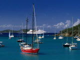 Sailing Ships and Cruise Ship in Harbour, Port Elizabeth, St. Vincent &amp; the Grenadines Photographic Print by Wayne Walton