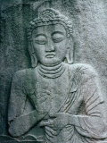 Seated Buddha Carved into Rock at Beopjusa Temple, Beopjusa, Chungcheongbuk-Do, South Korea Fotografie-Druck von Richard I&#39;Anson