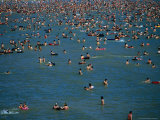 Crowds in Water of Resort Town Beach, Qingdao, Shandong, China Photographic Print by Dallas Stribley