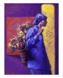 Woman Carrying Sunflowers Giclee Print by Ellen Dreibelbis