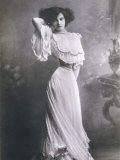 Polaire French Music Hall Entertainer in an Elegant White Dress Photographic Print by Paul Boyer
