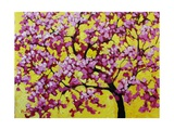 Pink Blossoms On Yellow Sky VII Giclee Print by Patty Baker