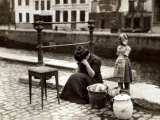 A Woman Weeps at the Roadside Beside Her Worldly Treasures, WWI, Antwerp, Belgium, August 1914 Photographic Print