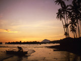 Sunset and Fisherman on Manado, Indonesia, 1990s Photographic Print
