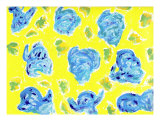 Blue Roses On Yellow Background Photographic Print by Ruth Robbins