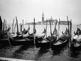 Gondolas and Gondoliers on a Rainy Day in Venice Italy, June 1965 Photographic Print